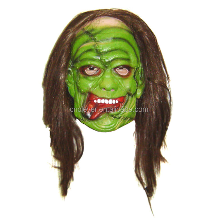 Full head green face halloween party ghost mask with long hair