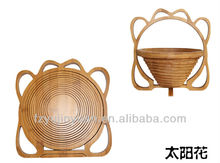 Natural bamboo fruit basket in flowers shape