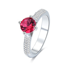POLIVA Wholesale 24K Solid Rose Gold Plated Simple 925 Sterling Silver Colorful Stone Ruby Rings