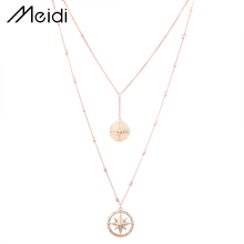 N6035 Fashion Double Chain Necklace Pendant Sun Gold Silver Chain Necklace for Women Female Necklace Choker Jewelry