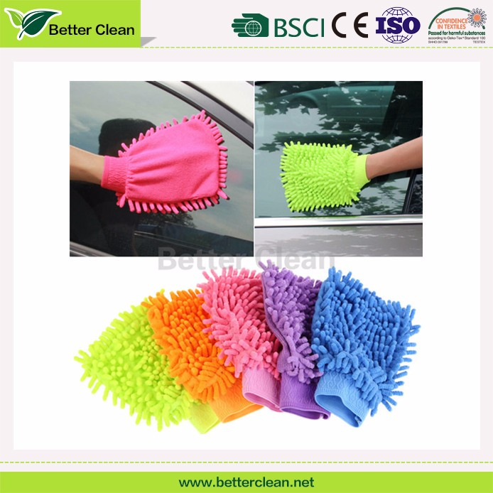 Colorful warp knitted chenille mitt cleaning car wash gloves microfiber