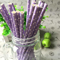 All new lavender polka dot 7.75 inches paper drinking straw