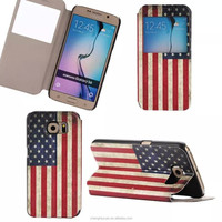 Retro America Nation Flag Print Wallet PU Leather Case For Samsung Galaxy s6