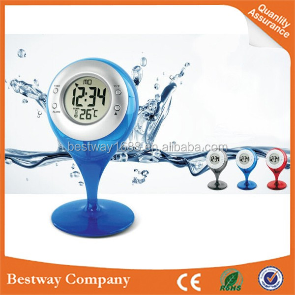 Wholesale hot Digital Display LCD water powered clock glass table with alarm clock and thermometer Free Shipping