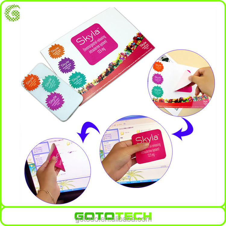 plush animal adhesive sticker custom microfiber sticky mobile phone screen cleaner with business card
