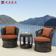 weather-resistant outdoor garden furniture black color Swivel function PE rattan dining chair table set with cushion