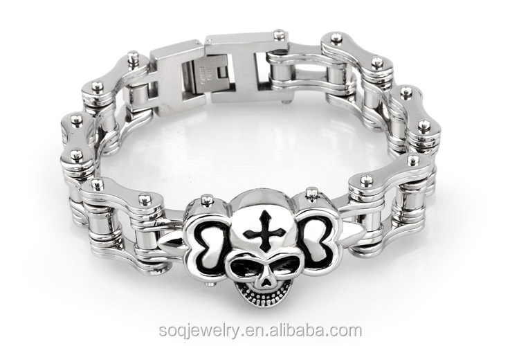 wholesale factory hot sell jewelry stainless steel skull bracelet latest fashion trends