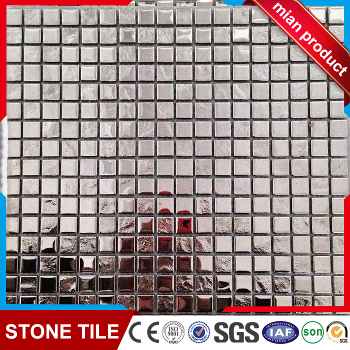 15x15 chip shine bright silver glass mosaic tile for bathroom