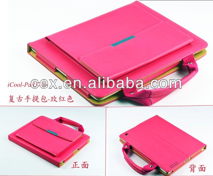 Wholesale - Handle Bag handle leather case cover For ipad mini 5 colors