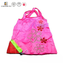 Cute Foldable Nylon Grocery Tote Bag Strawberry Bag in Colorful
