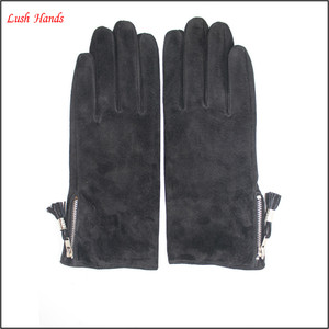 ladies suede leather hand gloves with zipper
