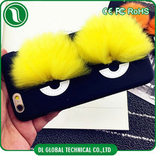 DIY handmade funnny case Big eyes plastic glossy case with fur plush for iphone 6