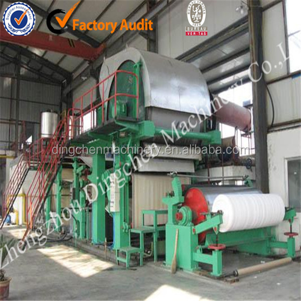 2100mm type 6-7T/D tissue paper manufacturing machine use wood pulp and recycled paper pulp as raw material
