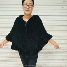 High Quality Hand Knitted Mink Fur shawl real fur cape poncho