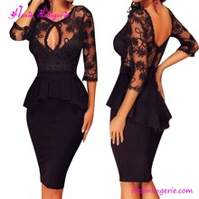 Fashion Black Bodycon V Neck Peplum Lace Cocktail Dress