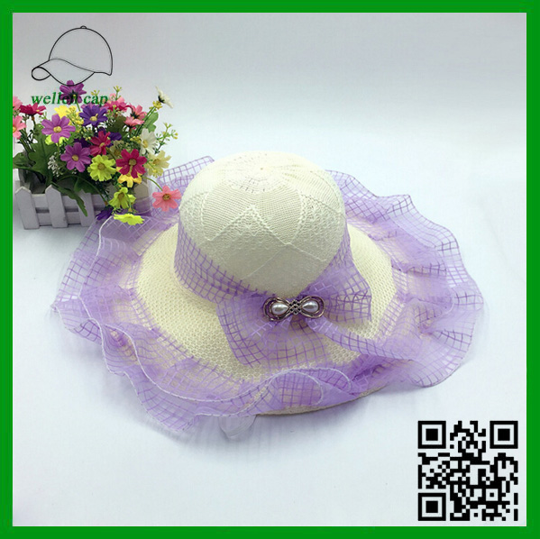 new product cheap top quality multi colors lace voile brim women straw hat for sale