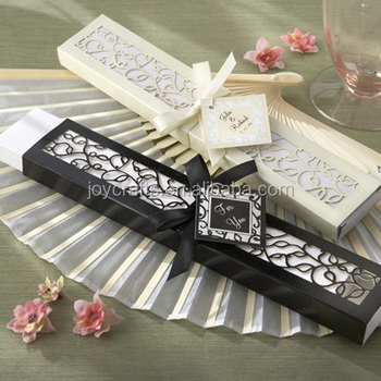 Wholesale Yiwu Joy Wedding Favors Elegant Gift Ivory or Black or Pink Box Luxurious Silk Fans