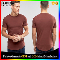 2016 Blank no brand round hem t shirt long tall t shirt for men