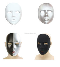 PLAIN WHITE BLACK SILVER FACE MASK FANCY DRESS PARTY MASQUERADE MK-1526