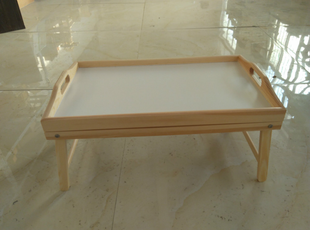 Portable bamboo wood breakfast bed tray with handle foldable legs