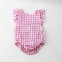 Pink Checks 100% Cotton Romper Newborn Baby Clothes Kids One Piece Playsuit Romper Clothing