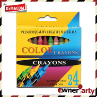 High quality 24 ct wax crayons in box /crayon set