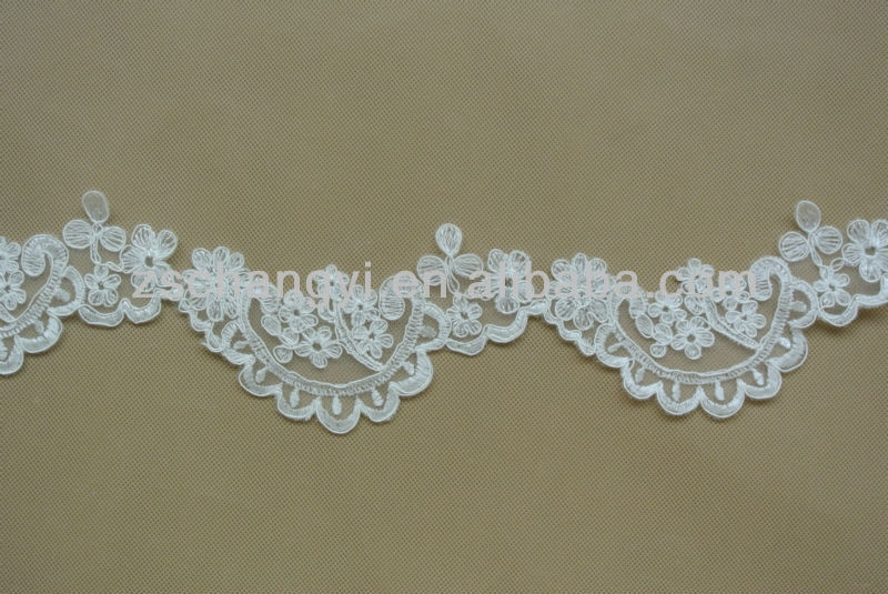 Light ivory embroidery corded bridal veil lace trimming