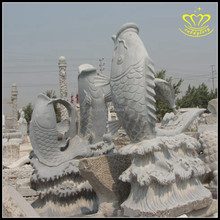 Garden Greening Landscape Marine Animals Water Jet Fish Sculpture Marble Carp Fountain
