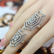 SJB0009 Full Finger CZ Arrow Chain Armor Knuckle Joint Ring Womens 925 Sterling Silver