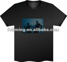 Hip Hop popular EL T-Shirt Sound Activated Flashing T Shirt