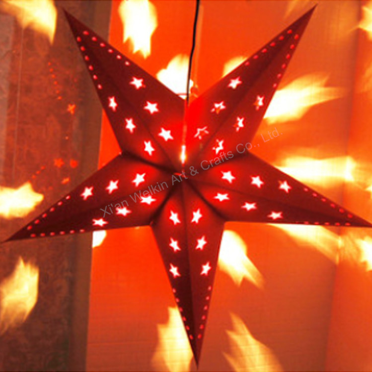 LED light star lantern/Christmas favor paper star decorations/Hanging india paper star lamp wholesale