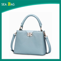 2016 Fashion Bule Lichee Pattern Cow Leather Mini Women Shoulder Bag Handlebag For Promotion