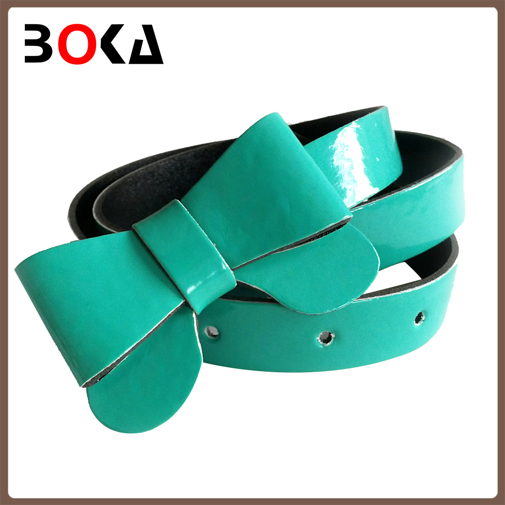 // new arrival mint skinny pu belt with // the bowknot for women's dress //