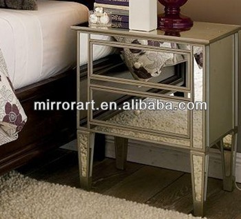 mr 401034 mirrored glass bedroom furniture side table