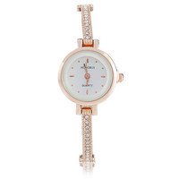 New Fashion Rose Gold Clear Rhinestone Battery Included Wholesale Import Women's Lady Designer Wrist Watches