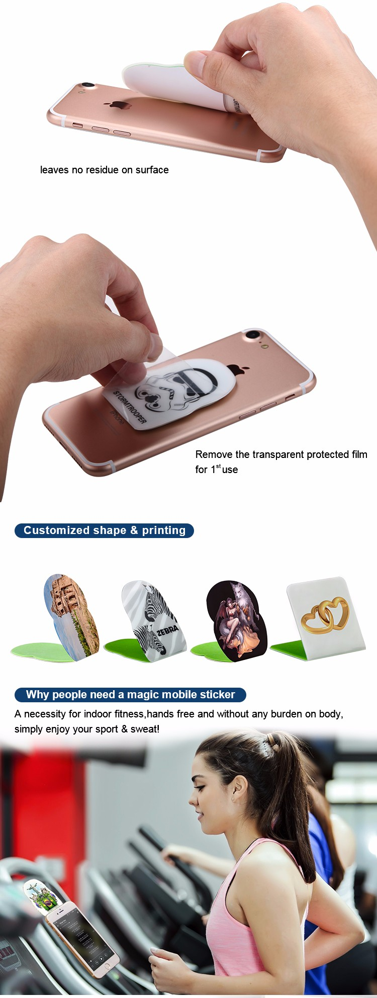 Low Profile Lovely Magic Sticky Mobile Phone Holder
