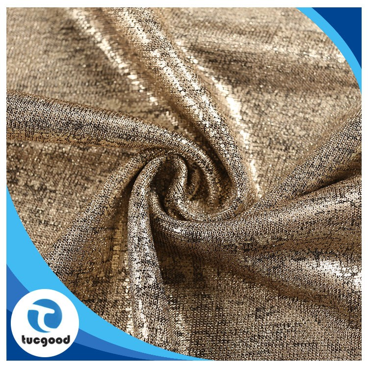 95%P5%SP glitter hacci knitted fabric with dyeing and gold printing