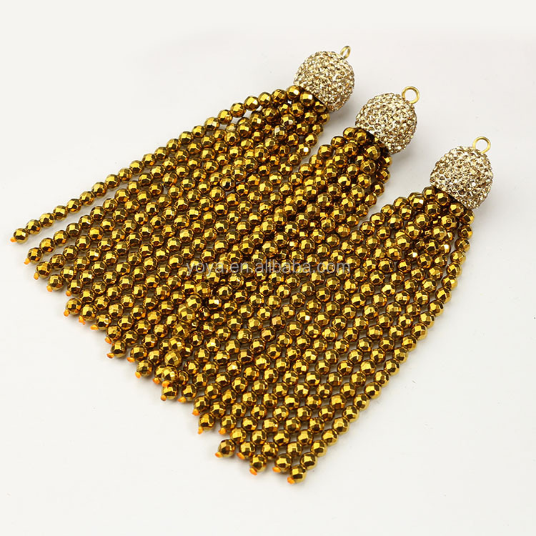 PC1662 Crystal pave cap tiny gold plated hematite beaded tassels