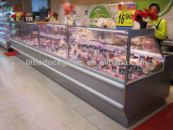 commercial service counter with vertical glass cover