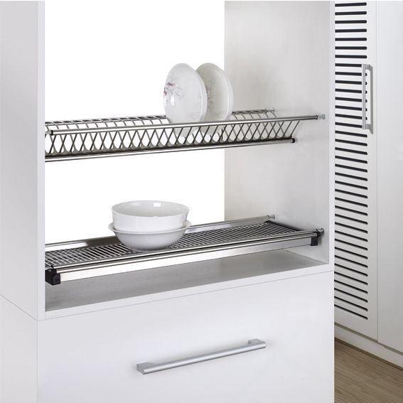 2 Tiers Kitchen Dish Rack Wall Mounted Stainless Steel Dish Drying Rack Kitchen Hardware - Buy Dish RackKitchen HardwareStainless Steel Dish Rack Product ...  sc 1 st  Alibaba & 2 Tiers Kitchen Dish Rack Wall Mounted Stainless Steel Dish Drying ...
