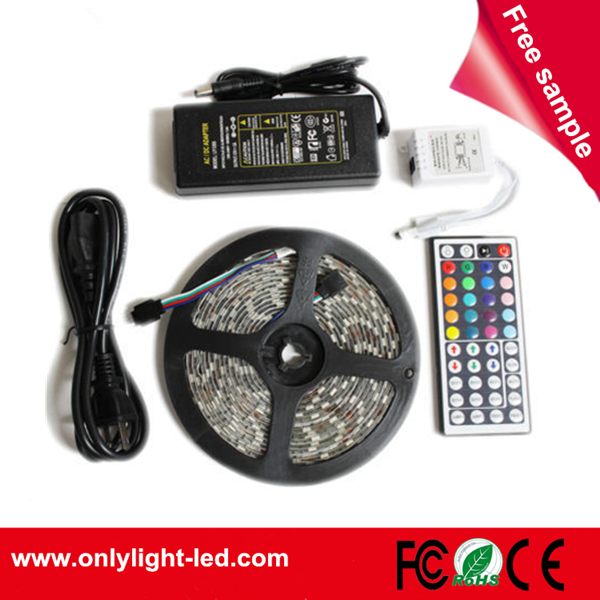 China factory wholesale 5050 60d rgb 12v flexible led strip light waterproof IP65 5M with 300leds 5050 rgb