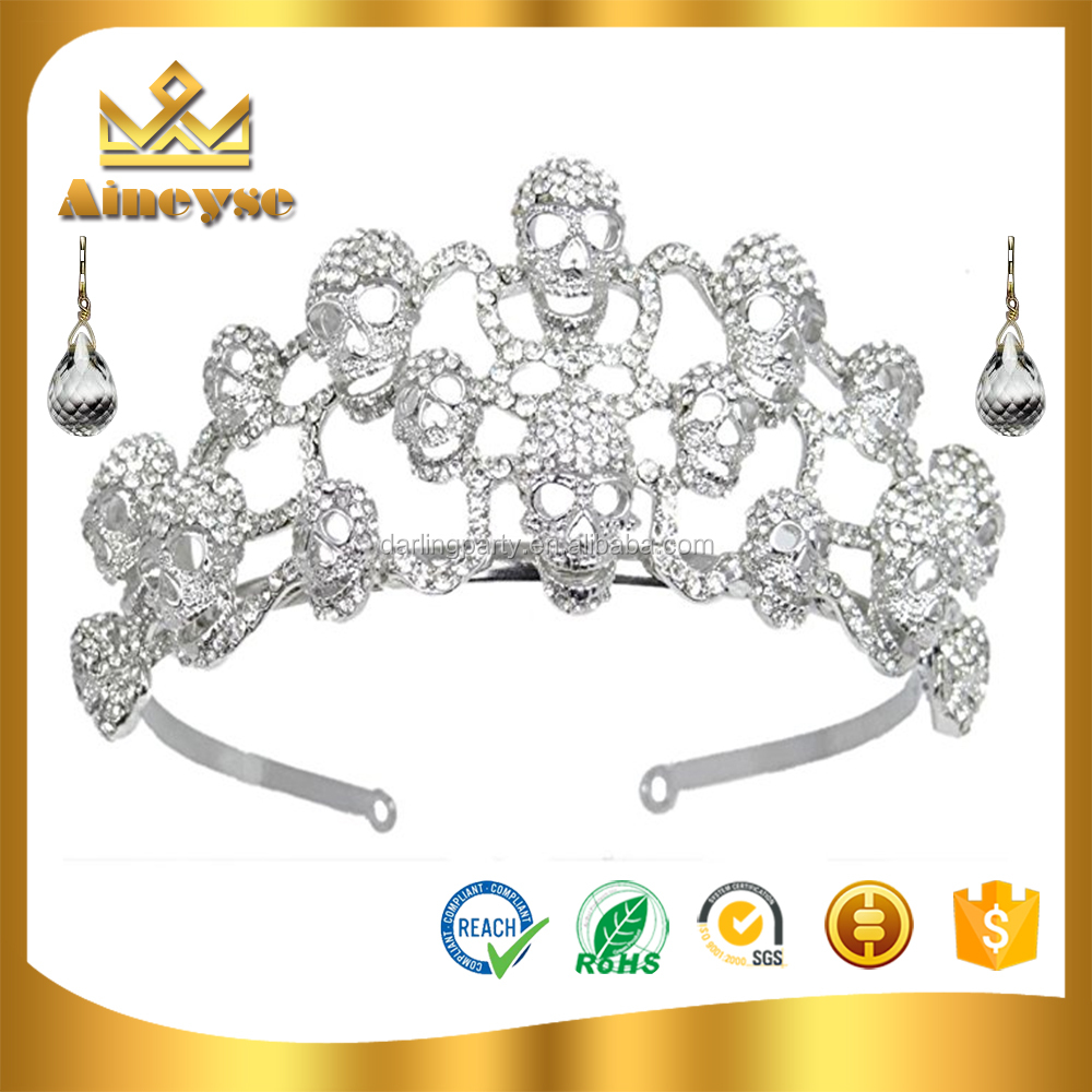 hot selling halloween skull crown and tiara for party decoration