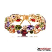 LZESHINE New Bracelet 18K Gold Plated Multicolor Cubic Zirconia Mona Lisa Bracelets&Bangles Luxury Jewelry CBR0004-C