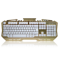 Private Mould metal mechanical gaming keyboard with backlight, bi-color injection key cap 26 anti-ghosting keyboard