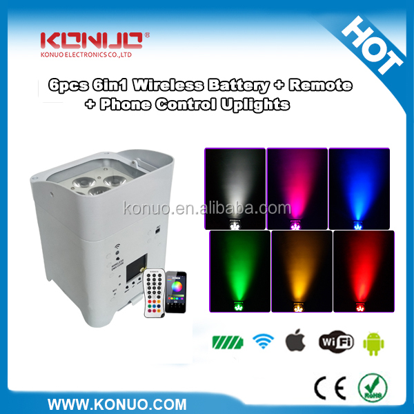 remote 6x18w 6-in-1 wifi battery led stage light packed by charging flight case 10 in 1