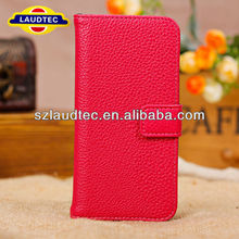 Red Litchi Grain PU Leather Flip Card Slot Wallet Stand Case Cover For iPhone 5 5S