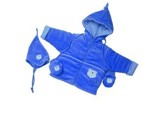 Baby winter snowsuit jacket and baby coat with gloves and hats