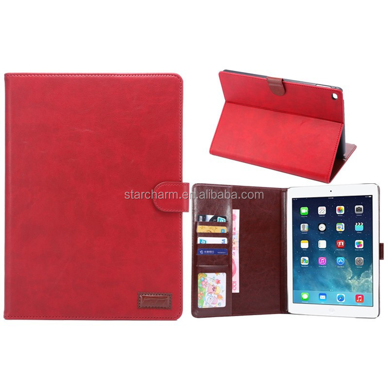 Unbreakable for Ipad air 2 leather case wallet with card holders