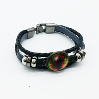 Evil Eye Charm Bracelet New Handmade Adjustable Multilayer Glass Men Punk Leather Cuff Bracelet