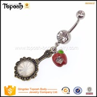 Toposhbodyjewelry Burnished Gold Clock Red Apple Belly Button Ring Body Piercing Jewelry